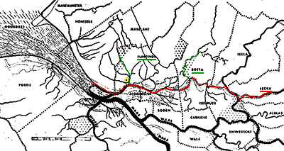 Maasdelta rond 1100, met Lek, Rotte en Flardinga